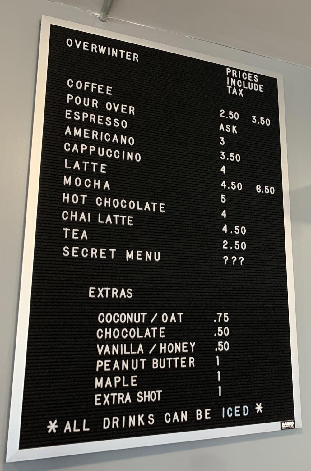 overwinter coffee menu